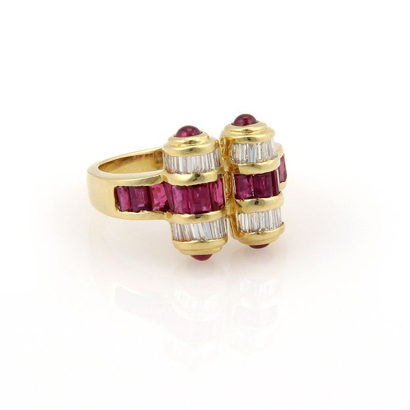 Estate 18K Yellow Gold Ruby and Diamond Cocktail Ring