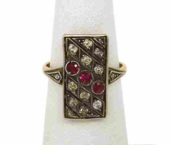 14K GOLD, SILVER, DIAMONDS & RUBIES VICTORIAN RING