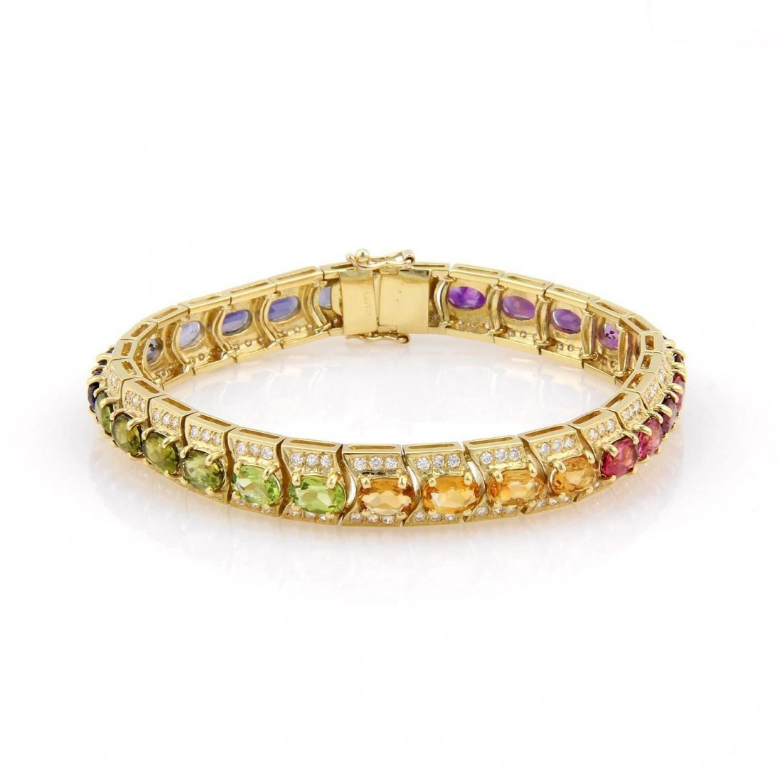 18K Yellow Gold Multi Colored Gemstone & Diamond Tennis