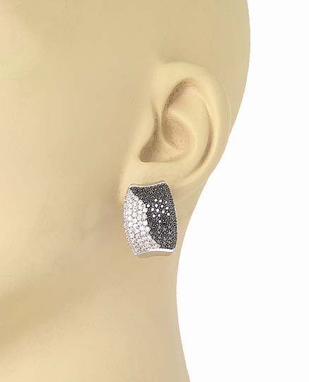 14k White Gold 2.40ctw White & Black Round Cut Diamonds
