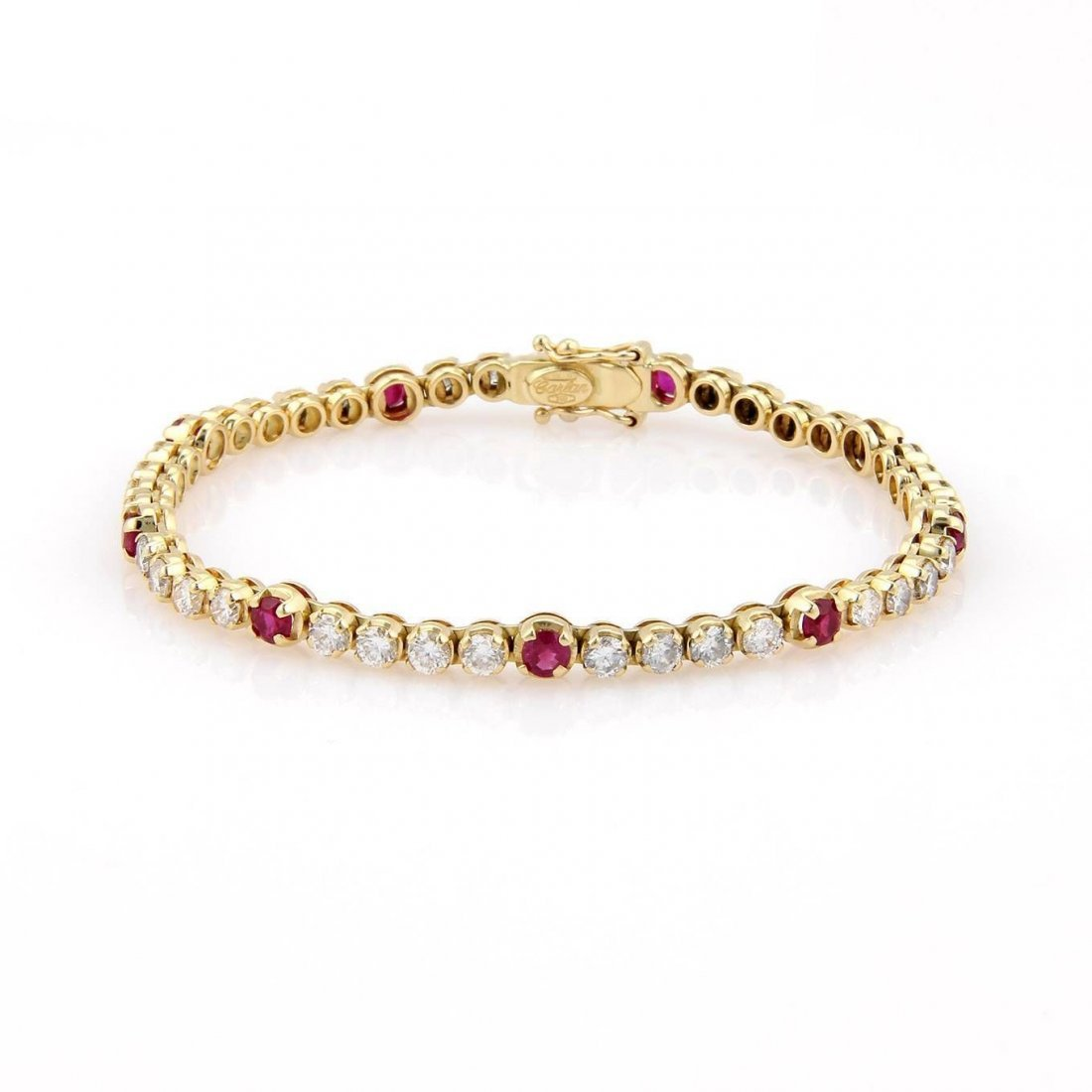 18K Yellow Gold 5.10ctw Diamond & Ruby Tennis Bracelet