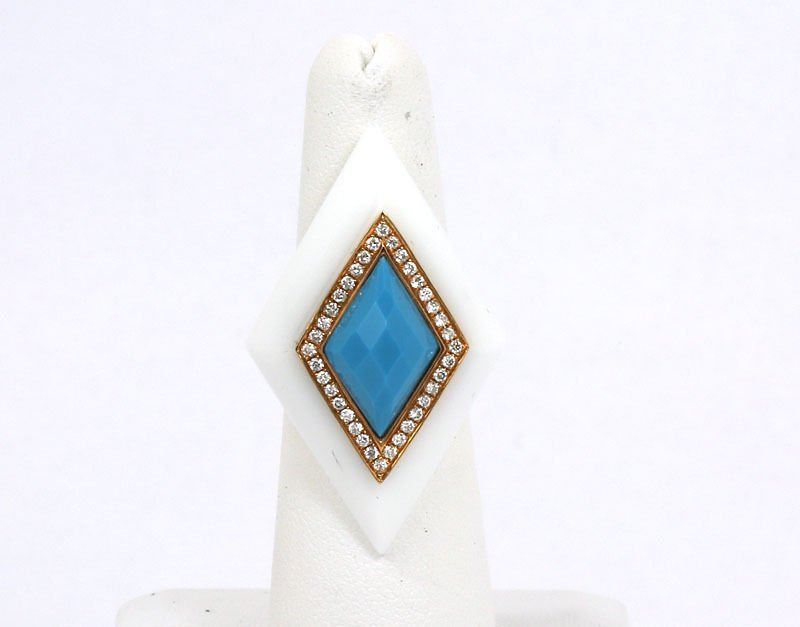 18K YELLOW GOLD, DIAMONDS, TURQUOISE & WHITE ONYX DRESS