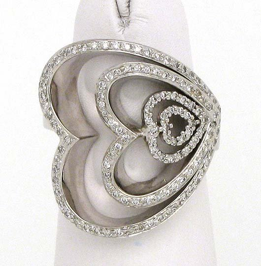 18k Solid White Gold 1.25ctw Diamond Four Hearts Open