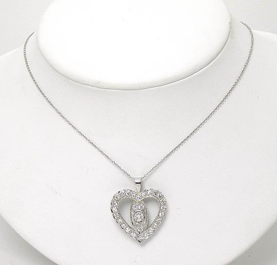 Estate Platinum 2ctw Diamond Heart Pendant & 14k White