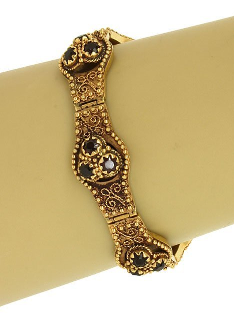 ORNATE VINTAGE 14K YELLOW GOLD & 6 CTS GARNET GEMS