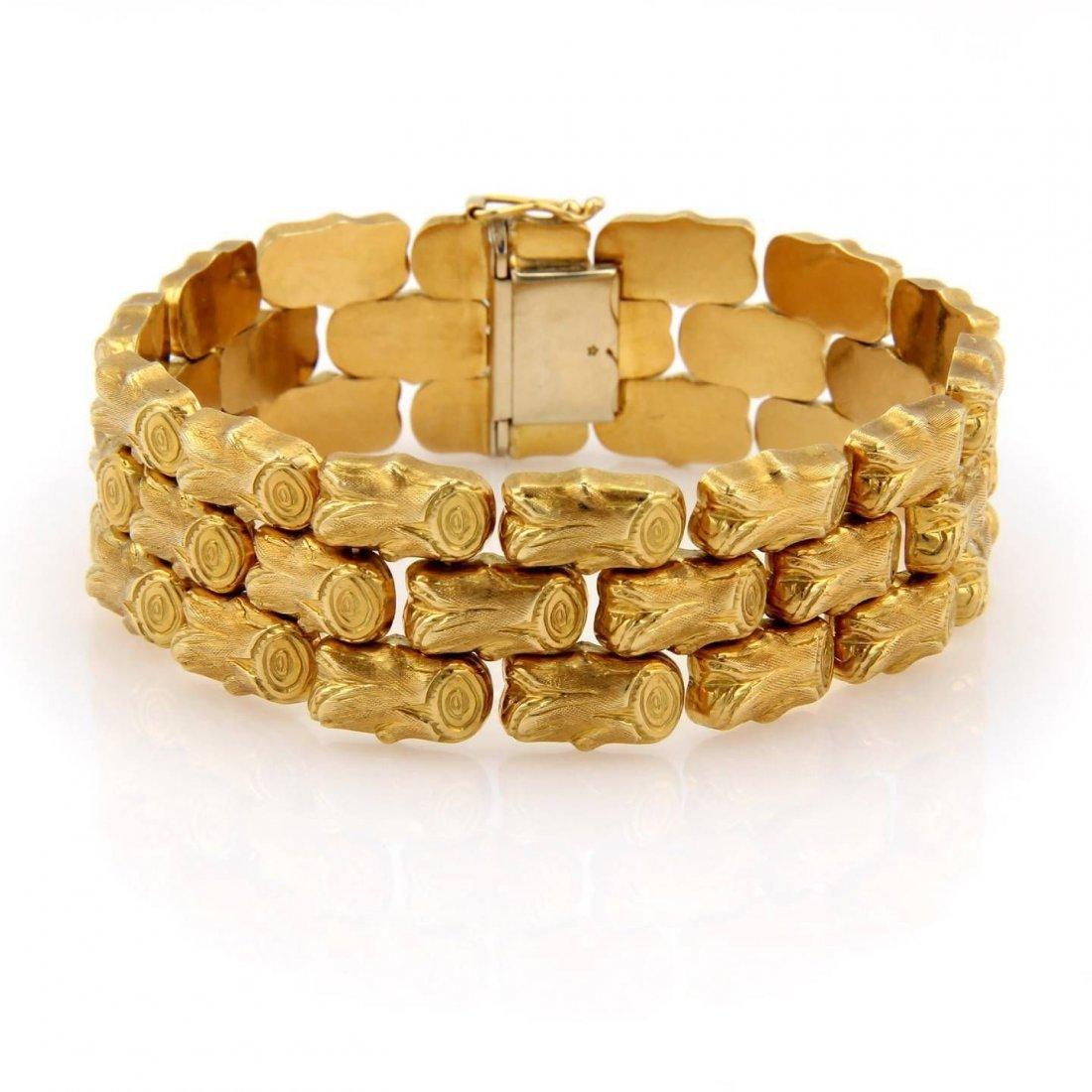 18K Yellow Gold Fancy 3 Row Link Bracelet - 45.1 Grams