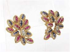 18k YGold 424ctw Diamond Sapphire  Ruby Floral Clip
