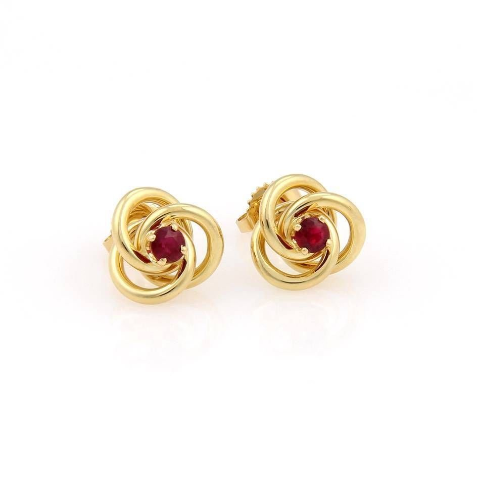 Tiffany & Co. 18K Yellow Gold Knot Stud Earrings with