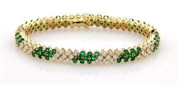Estate 18K Yellow Gold Diamond & Emerald Tennis