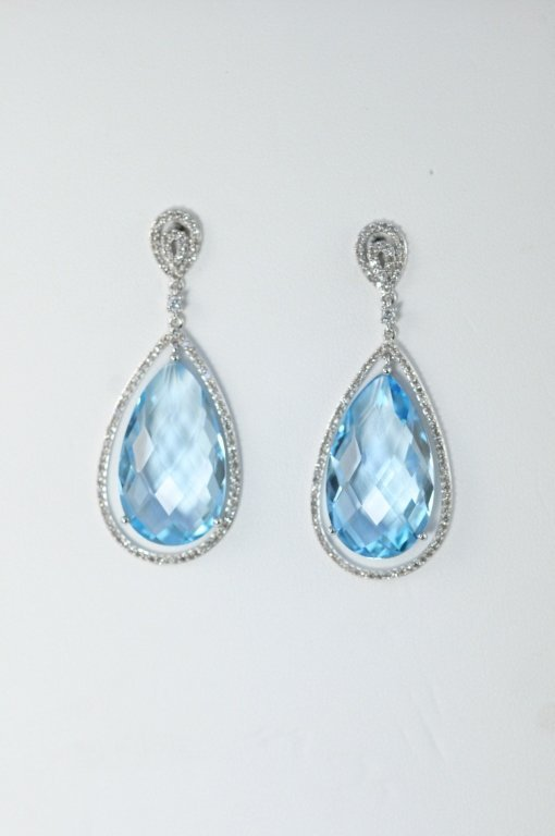 14K W/G BLUE TOPAZ AND DIAMOND EARRINGS