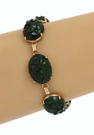 Estate Vintage 14k Y/Gold Natural Hand Carved Jadeite