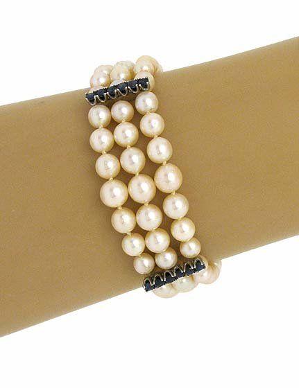 1940s Vintage 14k W/Gold Akoya Pearls Sapphire &
