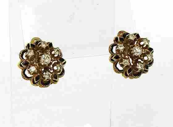 Antique Edwardian 14k Yellow Gold 1.3ctw Diamond &