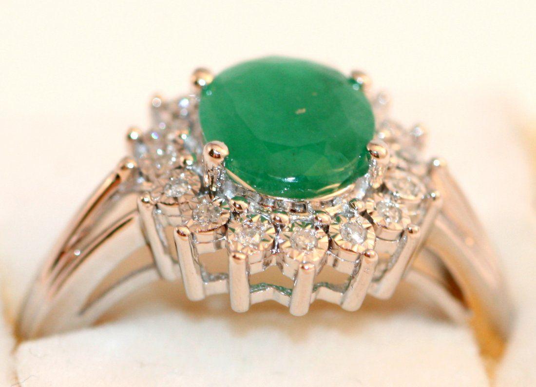 LADIES ESTATE 14K W/G DIAMOND AND EMERALD RING