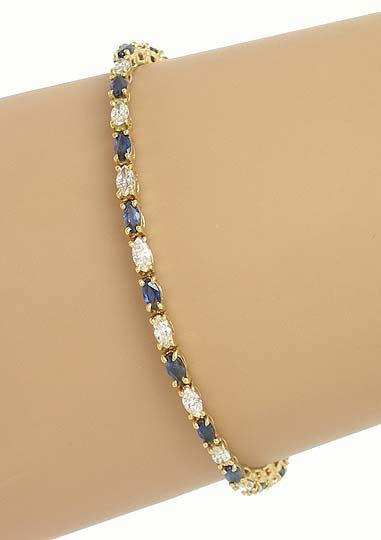 18k Yellow Gold 5.50ctw Diamond & Sapphire Tennis