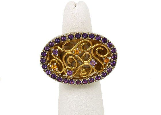 18k Two Tone Gold Citrine & Amethyst Large Oval