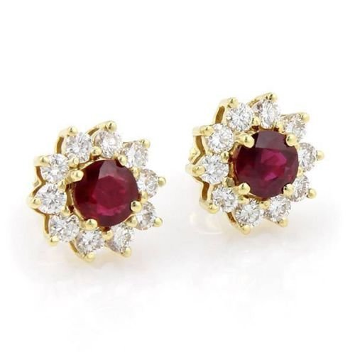 18kt Yellow Gold 3.50ct Round Cut Ruby & Diamond