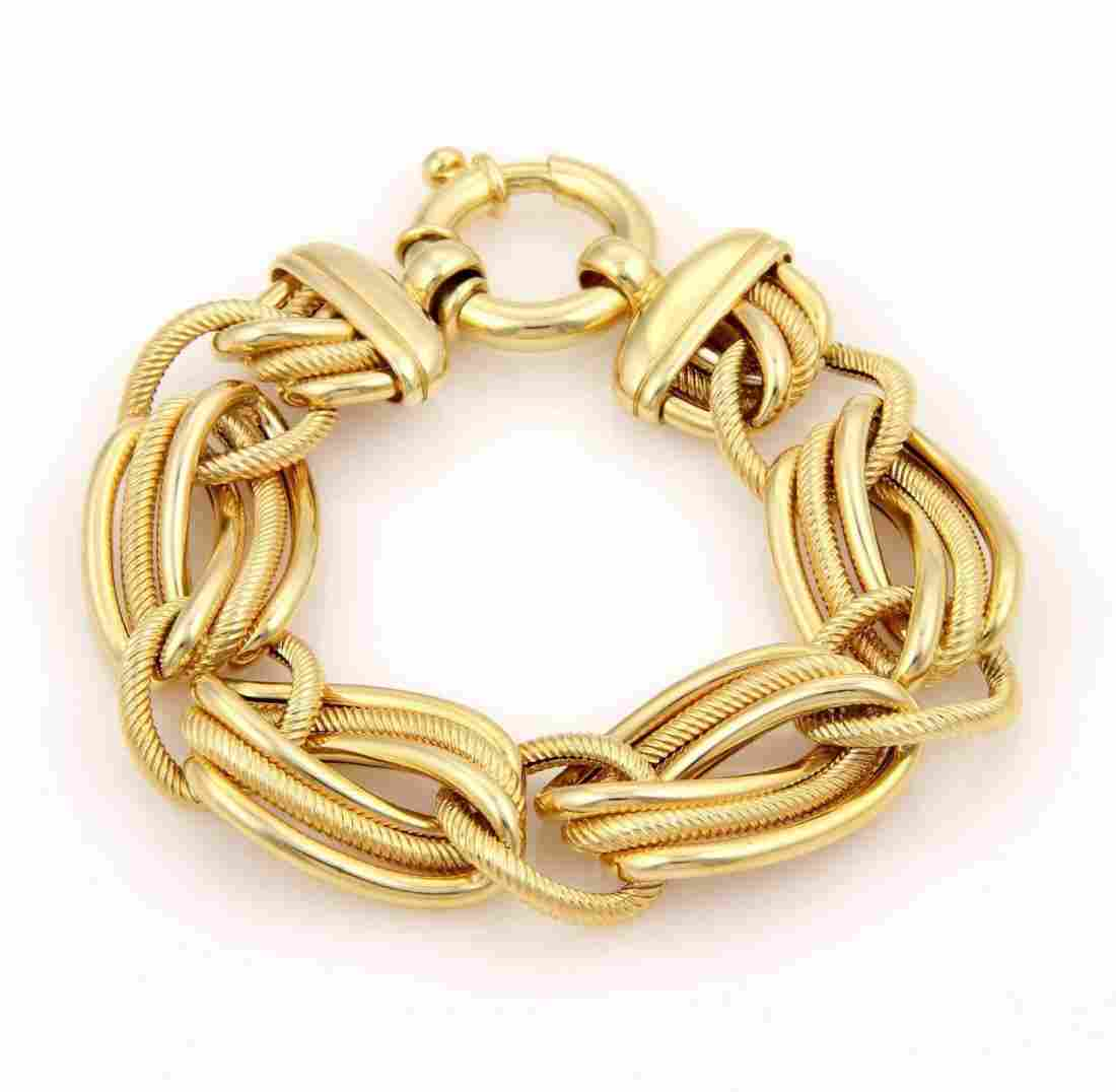 Estate 14K Yellow Gold Italian High Fashion Cable Link