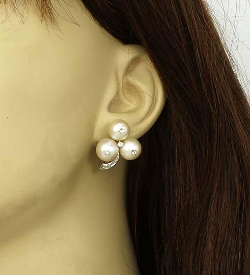 Estate Platinum .80ctw Diamond & 9mm Pearl Floral Stud