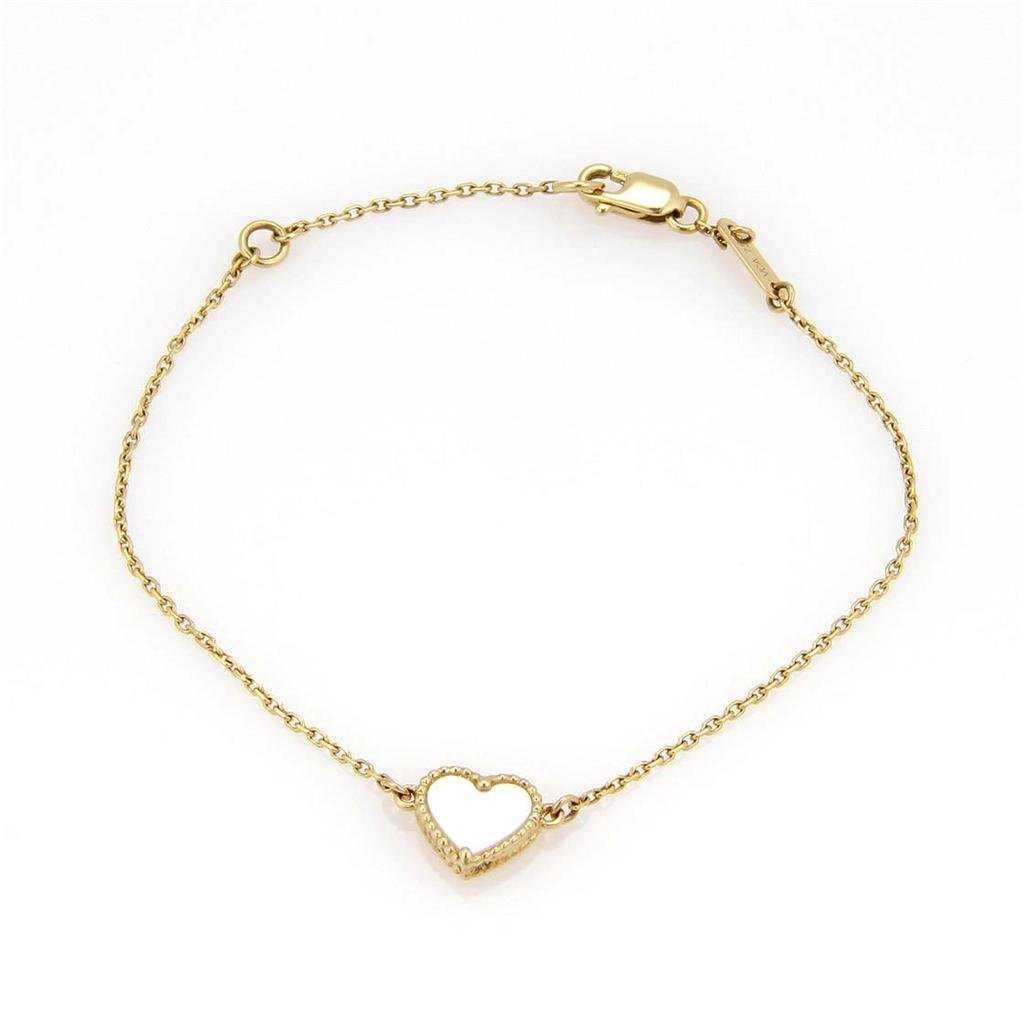 5cd4f5da14573 VCA 18K YG Sweet Alhambra Heart Mini Pendant Bracelet