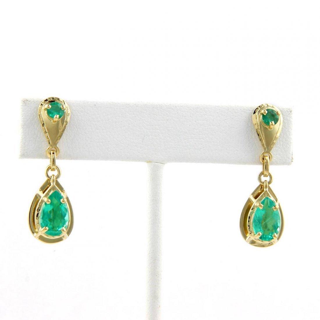 18kt Yellow Gold 3.50ctw Emerald Drop Dangle Earrings