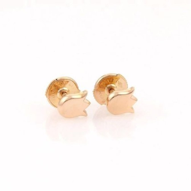 Cartier 18kt Rose Gold Lily Floral Stud Earrings With