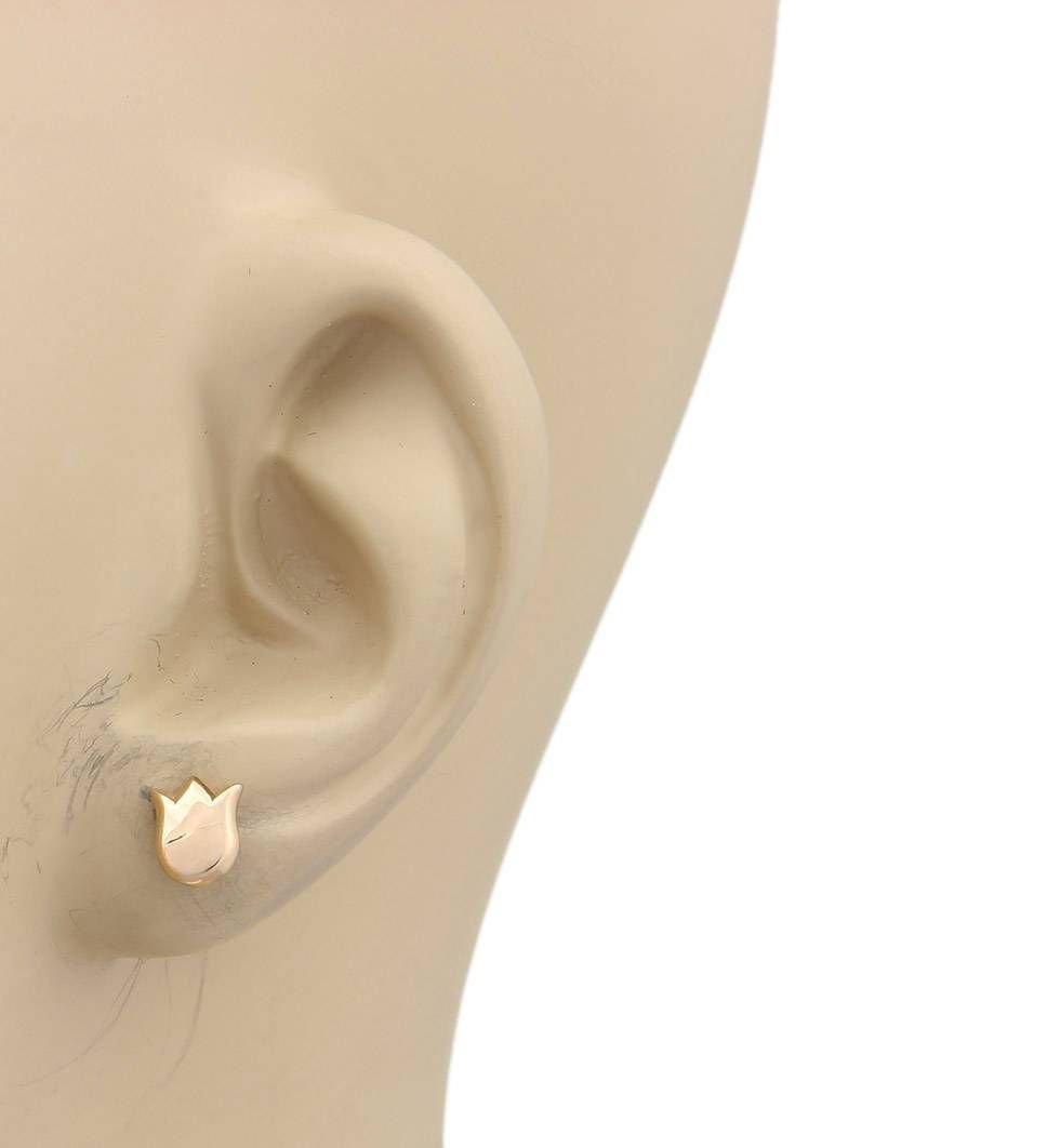 Cartier 18kt Rose Gold Lily Floral Stud Earrings With - 2
