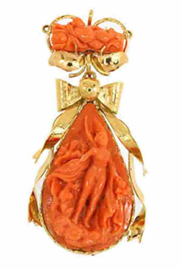STYLISH VINTAGE 14K GOLD & ITALIAN PINK CORAL LADIES