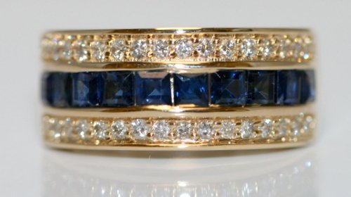 14K Y/ GOLD DIAMOND AND SAPPHIRE BAND RING