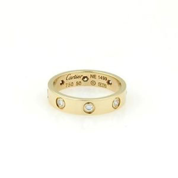 Cartier 18k Y/Gold 8 Diamond Mini Love Ring/Band Size