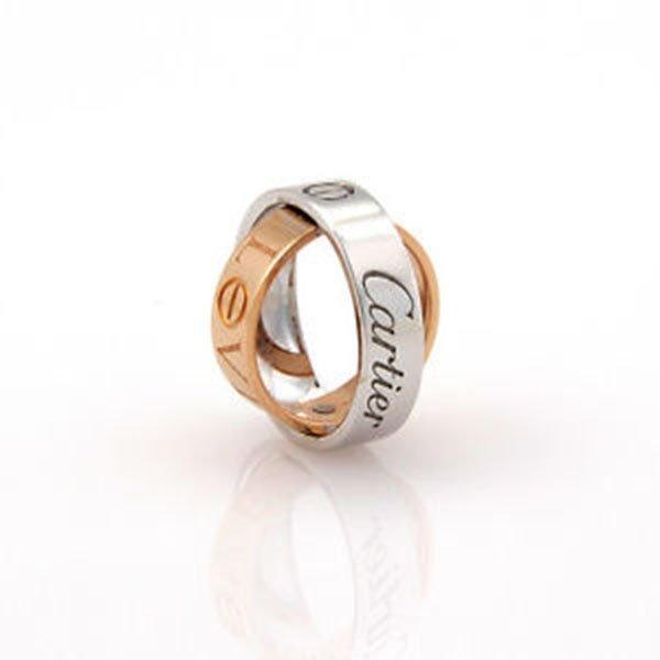 Cartier 18K White & Pink Gold Astro Secret Love Ring /