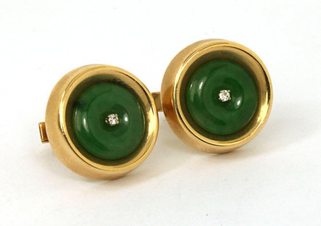 Estate Vintage 14k Yellow Gold Diamond & Jade Men's