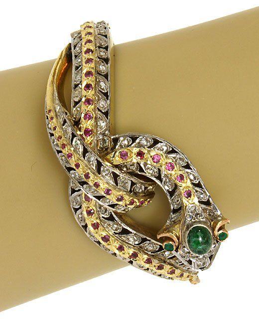 INTRICATE VINTAGE 2-TONE 14K, DIAMONDS, RUBIES &