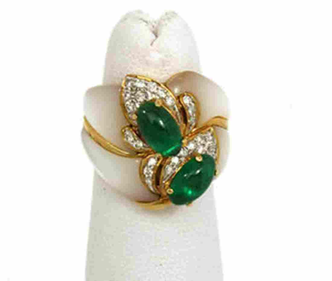 Estate 18k Yellow Gold 2.78ctw Diamonds, Emerald &
