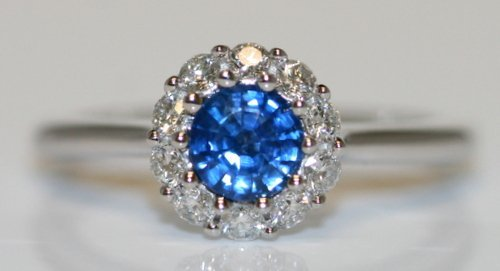 14K W/ GOLD DIAMOND AND SAPPHIRE RING