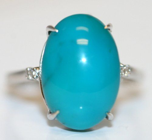 DIAMOND AND TURQUOISE RING SET IN 14K W/GOLD