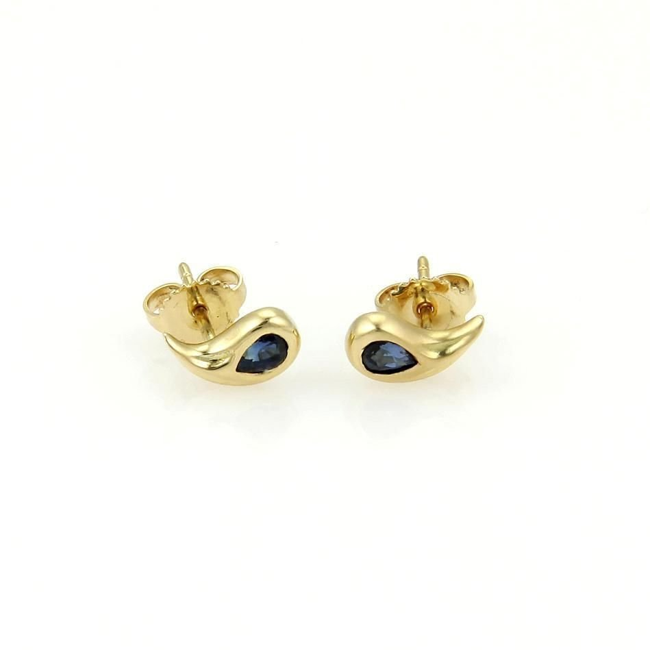 Tiffany & Co. 18k Yellow Gold & Sapphire Curve Pear