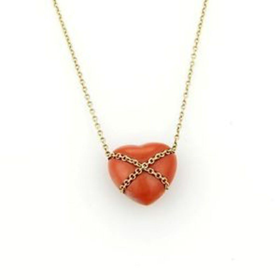 Tiffany & Co. Vintage 14k Yellow Gold & Coral Heart