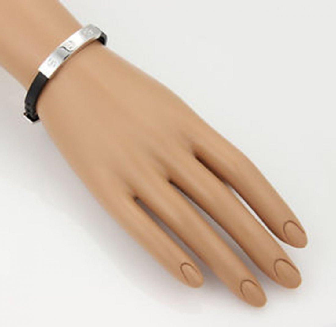 Cartier 18K White Gold Love Bracelet on Black Leather - 5