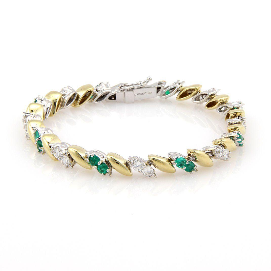 Estate 18K 2 Tone Gold Diamond & Emerald Fancy Link