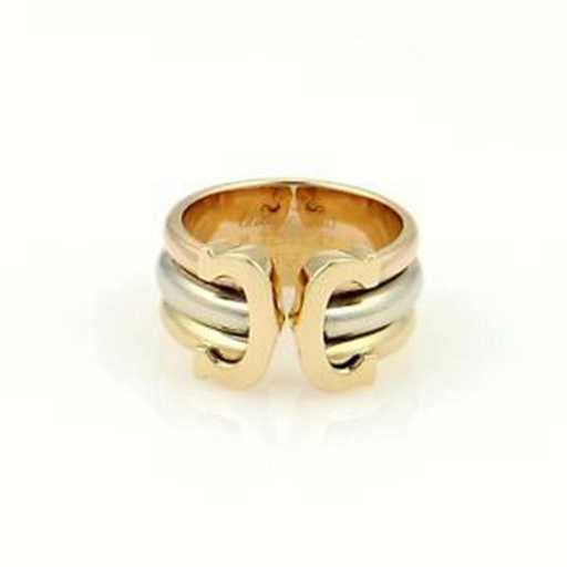 209cf87344cd Cartier 18k Tri Color Gold Trinity Double C Logo Ring