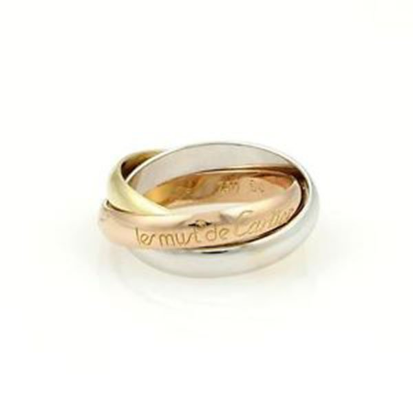 Cartier 18k Tri-Color Gold Trinity Rolling Band Ring