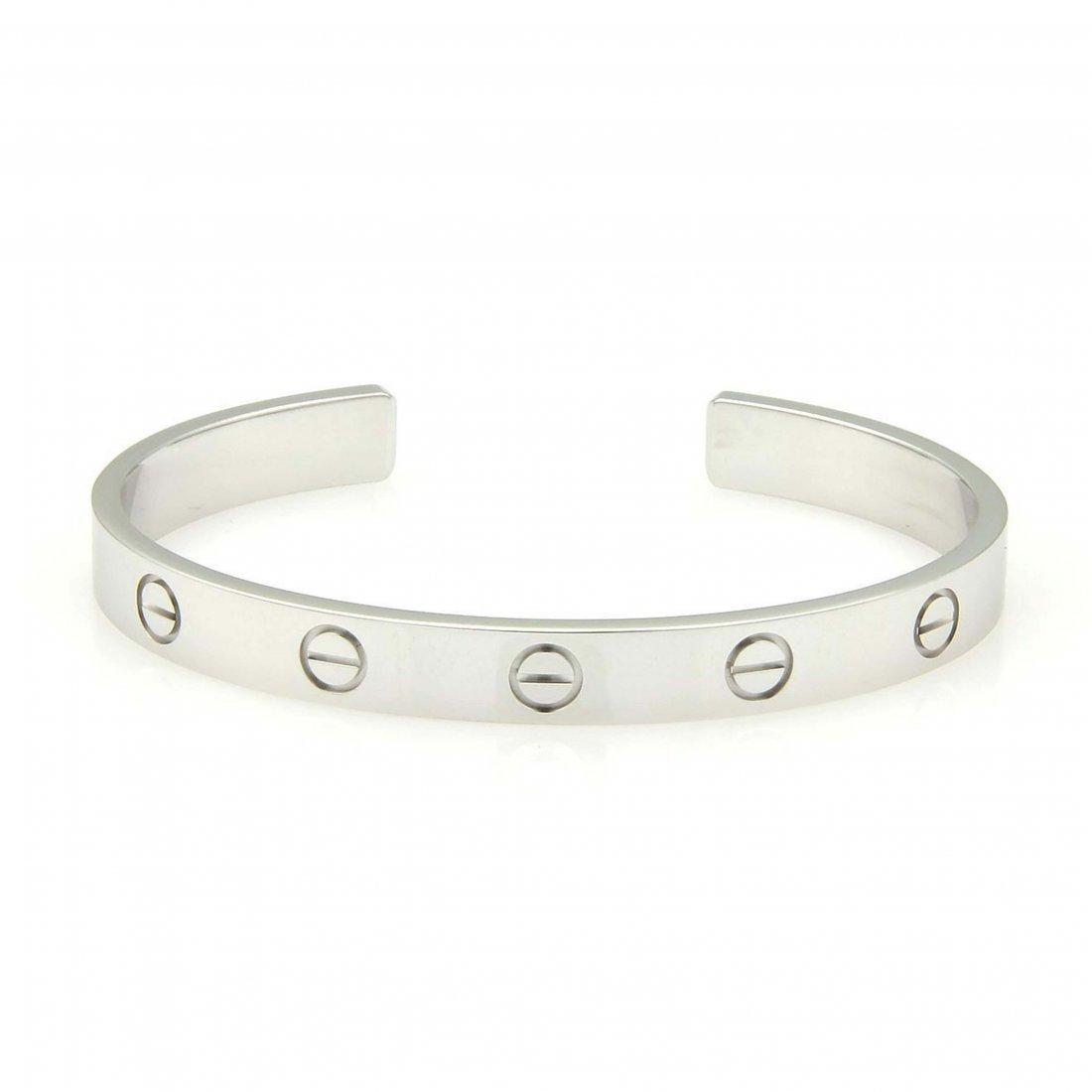 Cartier 18k White Gold Open Cuff Love Bracelet Size 16