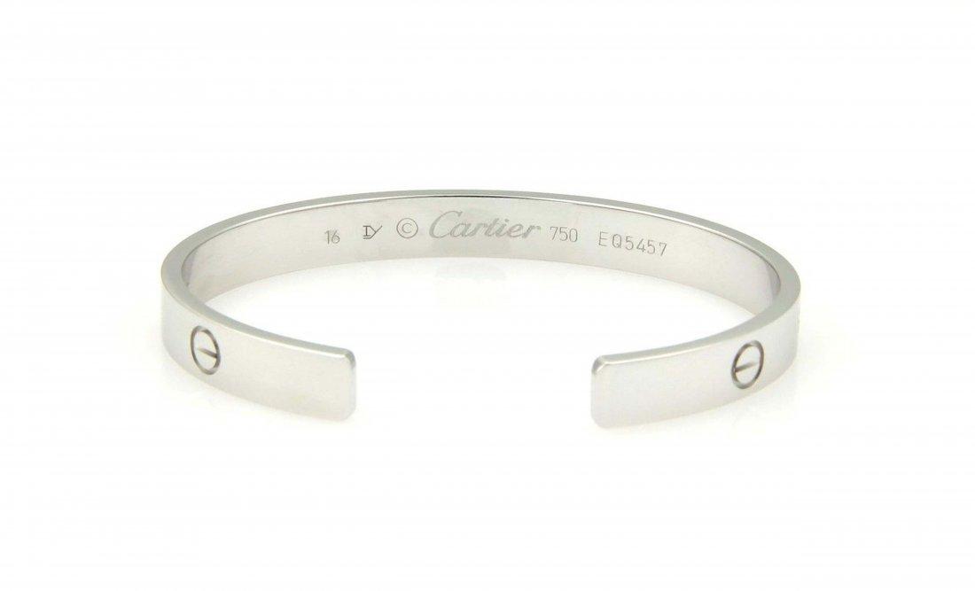 Cartier 18k White Gold Open Cuff Love Bracelet Size 16 - 2
