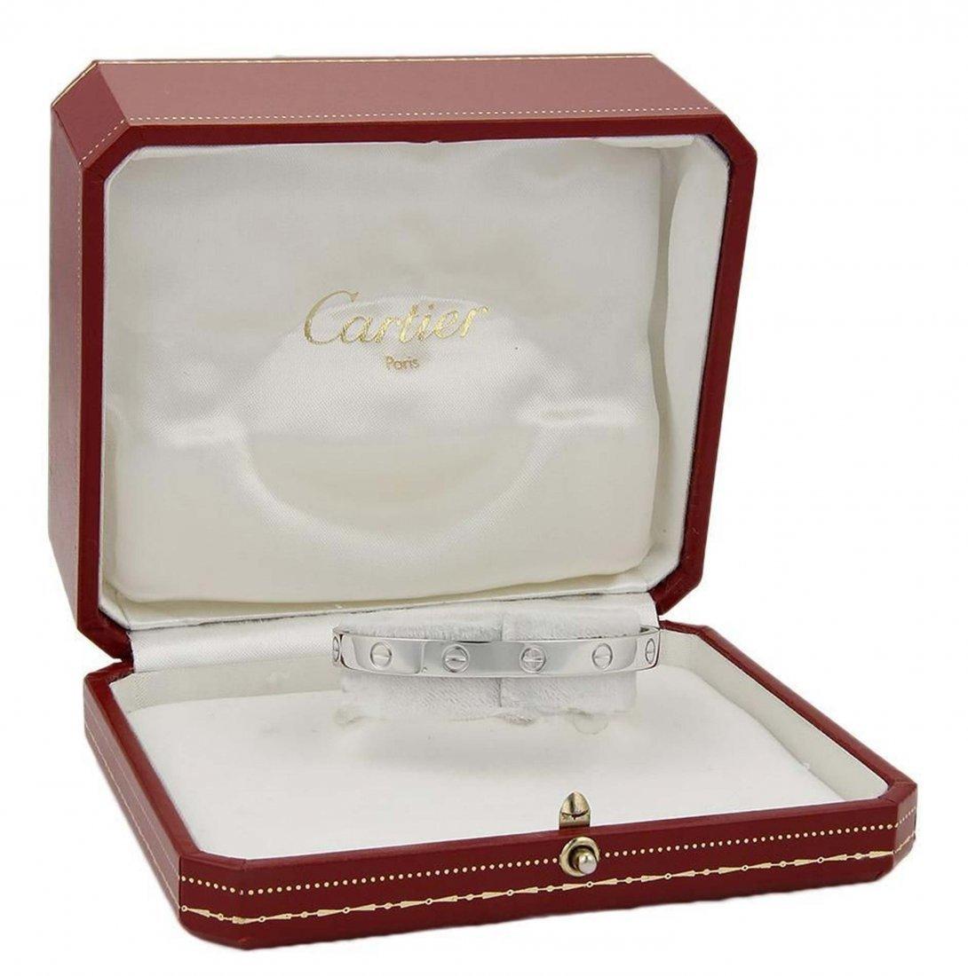 Cartier 18k White Gold Open Cuff Love Bracelet Size 16 - 3