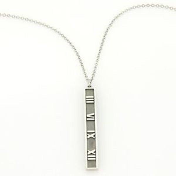 Tiffany & Co. Atlas 18k White Roman Numeral Long Bar