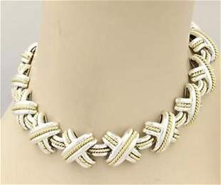 Tiffany & Co. 925 Silver & 18k YGold Signature X Link