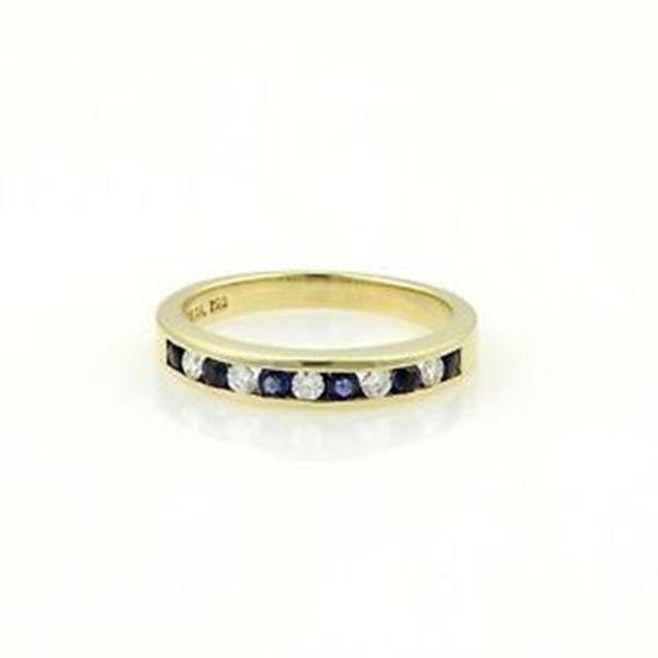Tiffany & Co. 18k Yellow Gold Diamonds & Sapphire Band