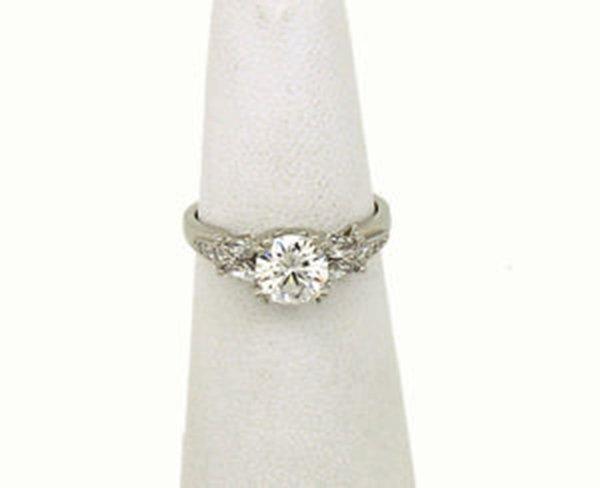 Tacori Platinum & Diamond Solitaire With Accent Ring