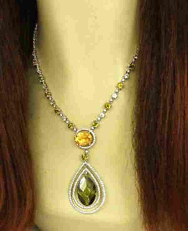 LAVISH 18K W-GOLD, DIAMONDS, PERIDOT, CITRINE &
